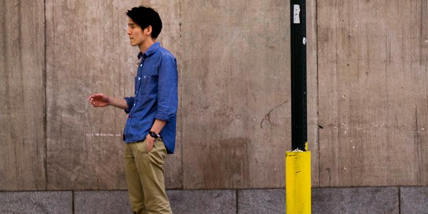 man, blue shirt