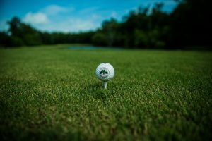 Golf course, golf ball, golf tee,