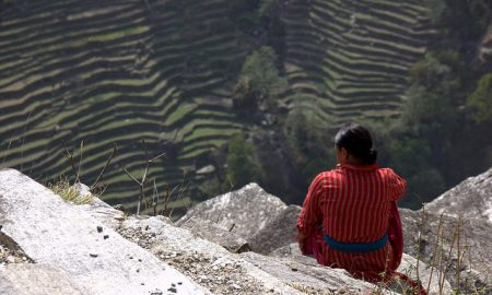Women sitting on mountain