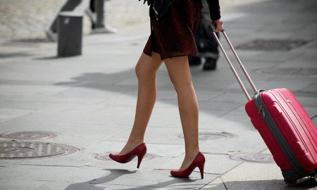 Woman in skirt and heels