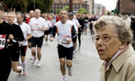 Woman watching a marathon
