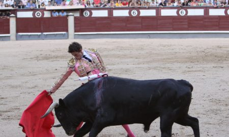 Bullfighter at running of the bulls festival