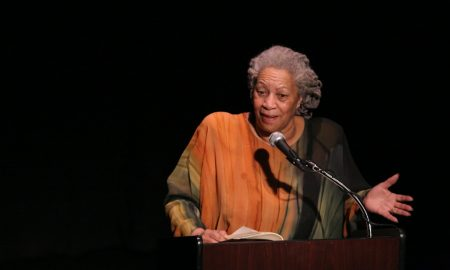 Toni Morrison speaking to crowd