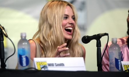 Actress Margot Robbie Laughing on a Comic Con Panel