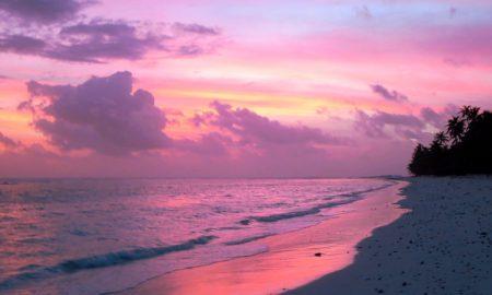 Island seashore at sunset