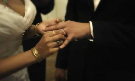 Rings being exchanged during a wedding