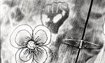A graffiti fist and flower