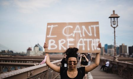 black woman I can't breathe protest sign